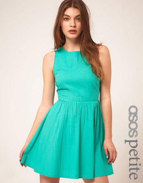 petite summer outfit | Asos Collection Petite Summer Dress With Open Back in Green - Lyst