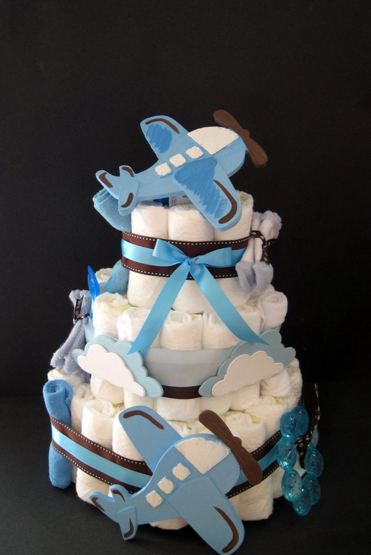 Airplane Diaper Cake by Jackntheboxdesigns on Etsy
