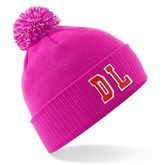 Personalised Pink Bobble Hat With Initials