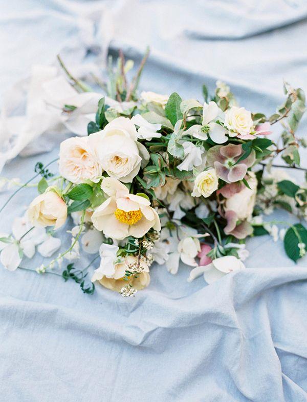 Botanical Garden Bouquet in Ivory and Pale Blue | Sally Pinera Photography | http://heyweddinglady.com/dreamy-blue-latte-wedding-palette/
