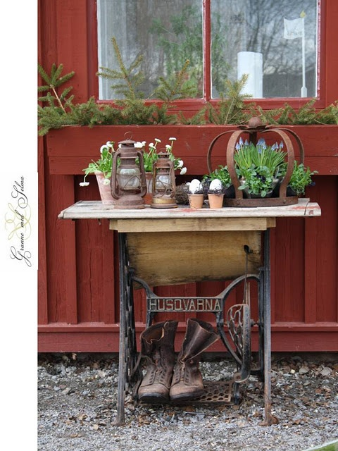 would love to have the table my brother made out of an old sewing machine stand!