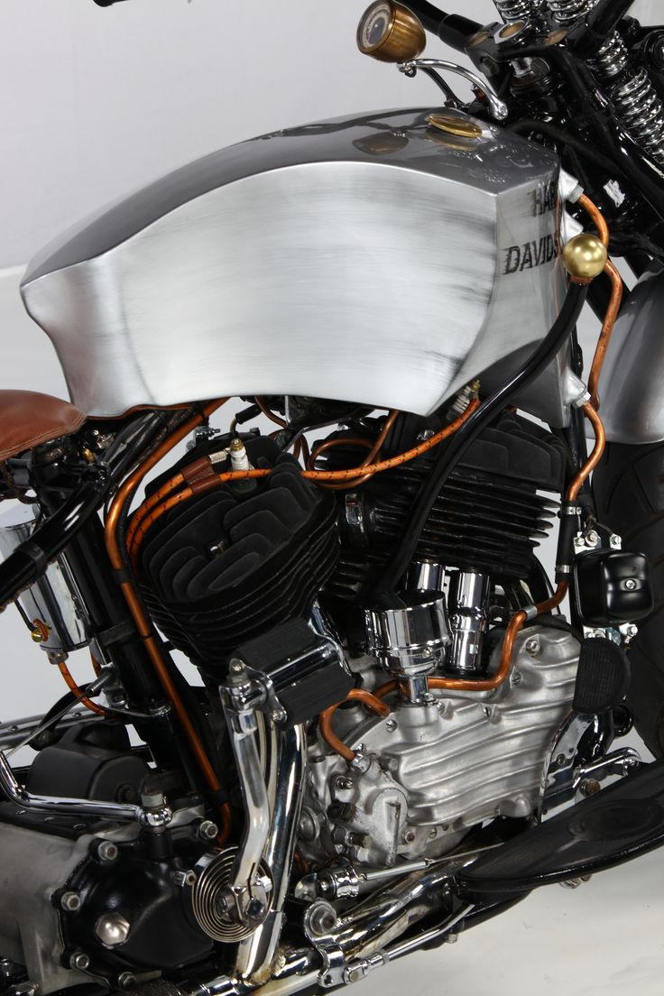 Harley Davidson. Flatthead 1947. Handmade by Freestyle Custom. Designed and manufactured in Germany. clasic custom - aluminium - leather - gas tank - motorcycle aluminium - individual - custom motorcycles - metal - copper - wheels