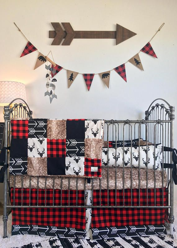 Check Yes or Doe Collection, Baby Boy Crib Bedding, Red and Black Crib Bedding, Axis Hide Crib Set, Rustic Woodland Baby Bedding, Deer Crib Our most popular prints for baby boy all in one set! The rustic look of this mix of fawn fur, red and black buffalo check, ivory with black