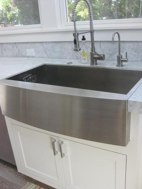 "Main Sink—36"" SS Farmhouse w/apron front , single bowl, flushmount; princess white honed granite + backsplash?"