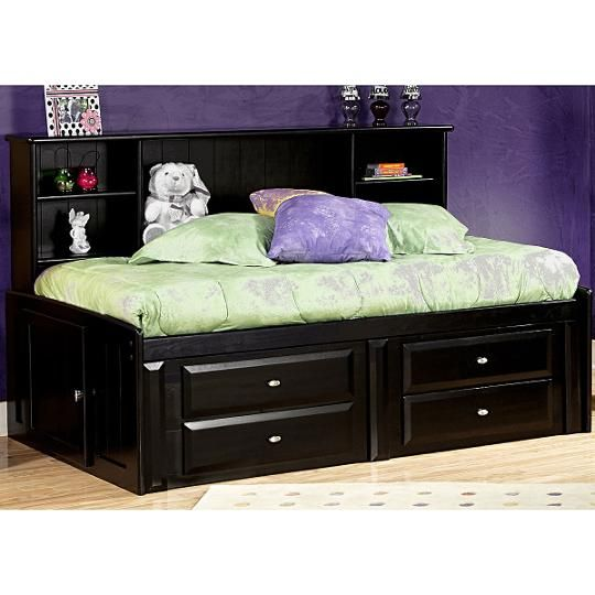 Contemporary Black Cherry Twin Storage Bed Laguna