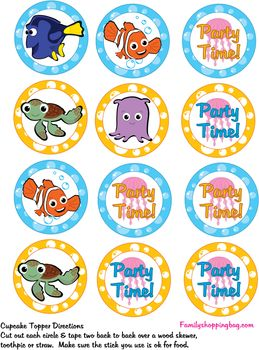Cupcake Toppers, Finding Nemo, Party Decorations - Free Printable Ideas from Family Shoppingbag.com