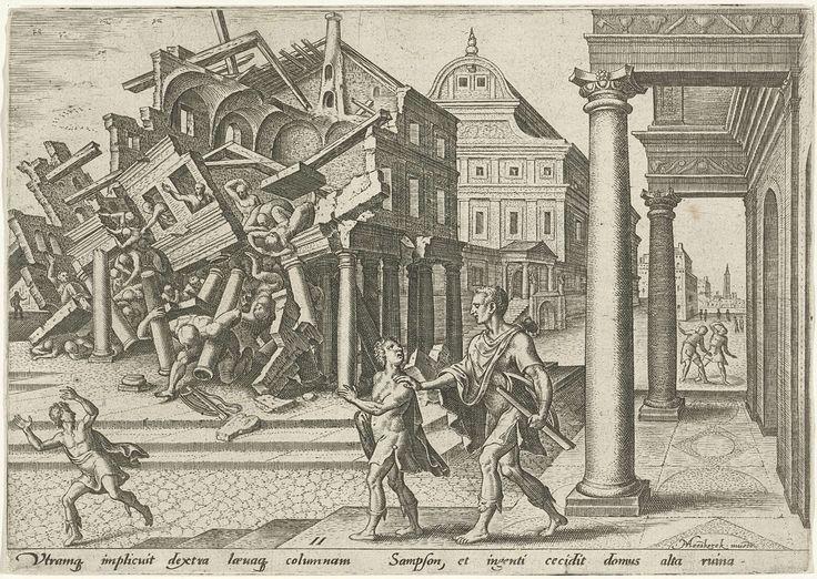 Philips Galle | Simson verwoest de tempel van de Filistijnen, Philips Galle, 1569 | Simson is uit de gevangenis bevrijd en verwoest de tempel van de Filistijnen door met twee zuilen onder zijn armen weg te lopen. Het gebouw valt over hem heen. Rechtsvoor een man met harp (lier) onder zijn arm en een jongen op de trappen van een gebouw met zuilenportiek.
