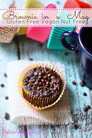Brownie In A Mug (Gluten Free Vegan Nut Free) PetiteAllergyTreats- Easy single brownie, warm every time! #brownie, #mug, #glutenfree