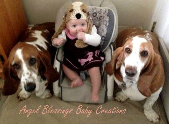 Bassett Hound Puppy Dog Crocheted Hat Newborn Photo Prop Handmade