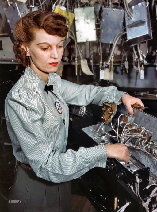 "Woman in High Tech career, December 1941. ""Electronics technician, Goodyear Aircraft Corp., Akron, Ohio."" 4x5 Kodachrome transparency by Alfred Palmer, Office of War Information. Hi Res original at Shorpy!"
