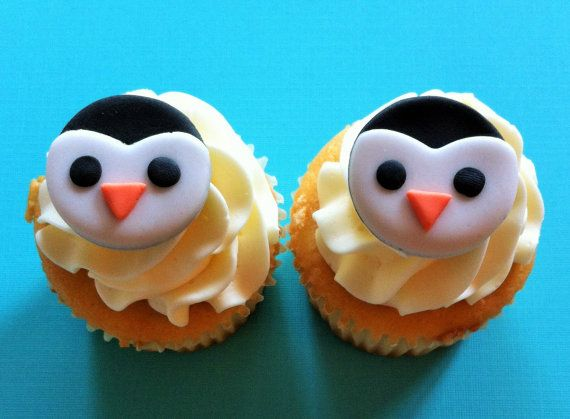 Fondant penguin cupcake toppers! Animal toppers :)