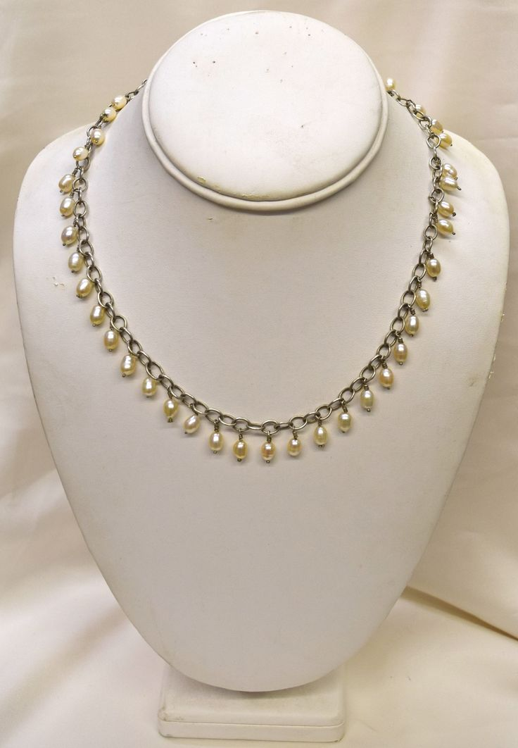 Vintage Pear Shape Pearls & Silver Necklace