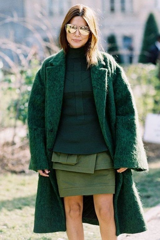 shades of green fashion editor christine centenera looks so chic in this oversized
