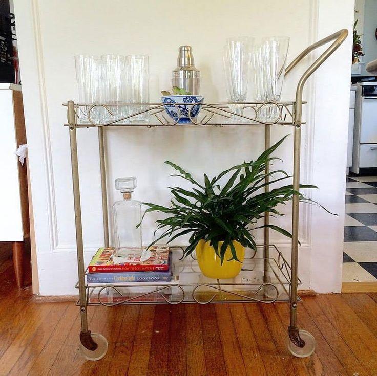 vintage mid-century modern bar cart with original 1950s C G Quartex star dust beer glasses