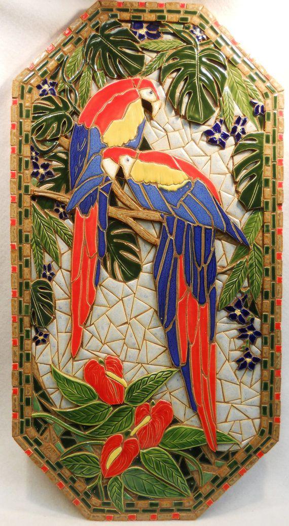 Rainbow Macaw Parrots Mosaic Wall Art Handmade Ceramic Tile Original