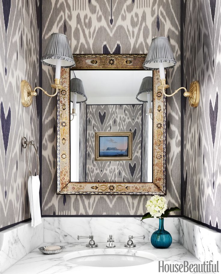 Gray Powder Room With Grey Grasscloth: 1000+ Ideas About Powder Rooms On Pinterest