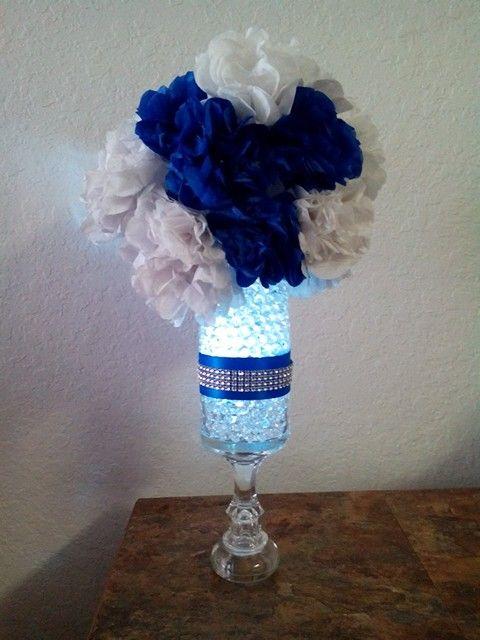 My wedding  royal blue centerpieces diy