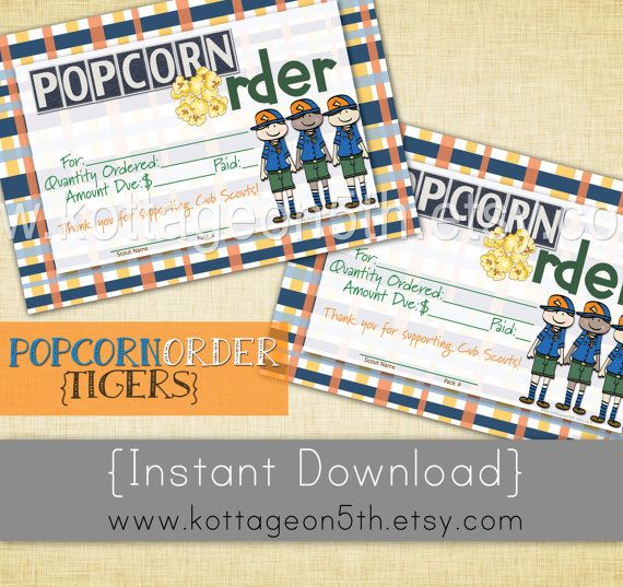SALE - Cub Scout Popcorn Order Slip - 4x6 and 8 1/2 x 11 - Instant Download - Tiger Thank You Card Receipt - Unlimited Printable Fundraiser Notes.  Super cute for Bears, Wolves, Tigers, etc.  Get it at www.kottageon5th.etsy.com!