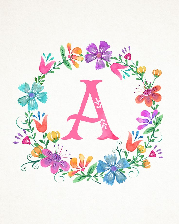 Free Printable Whimsical Watercolor Monograms - The Cottage Market