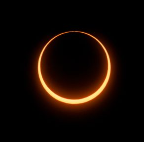 "Astrophotographer Jay Pasachoff sent in this photo on May 10, 2013 capturing the annular solar eclipse at the moment of the ""ring of fire."" He took the image from a site 43 miles (70 km) north of Tennant Creek, Northern Territories, Australia."