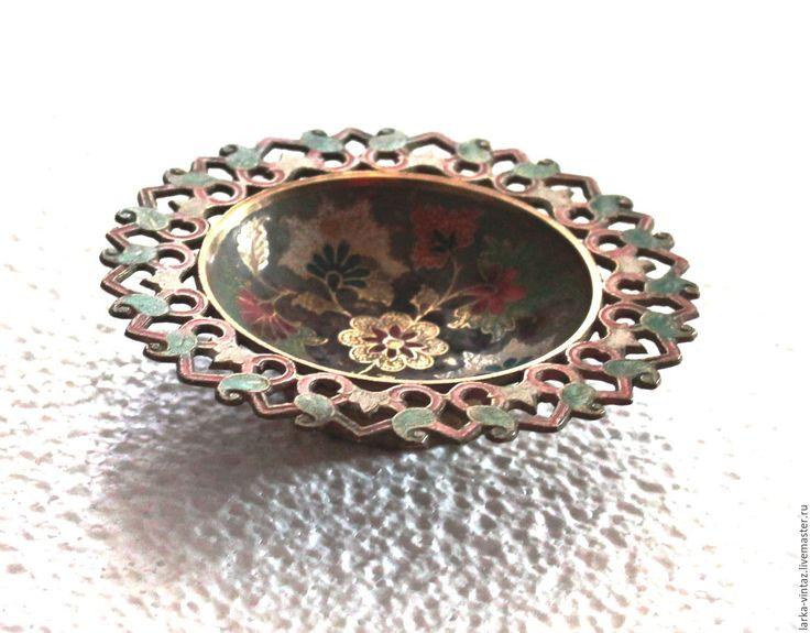 Купить Ажурная тарелочка Медная с рисунком - разноцветный, медная посуда, винтажная тарелка из меди