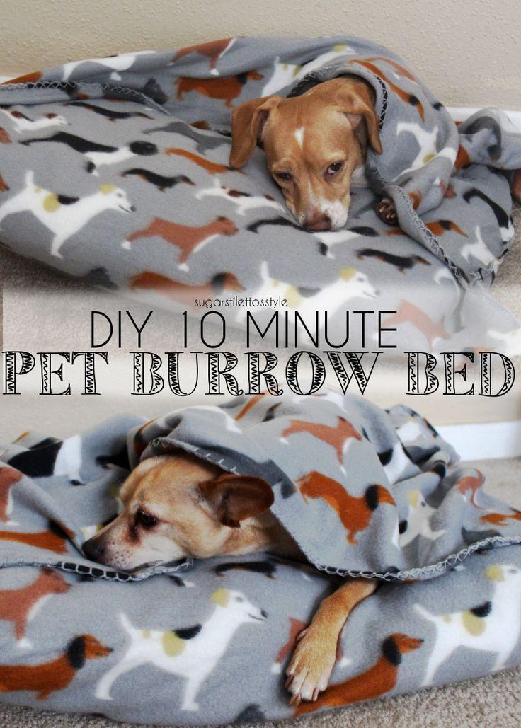 DIY 10 minute Pet Burrow Bed   Sugar Stilettos Style