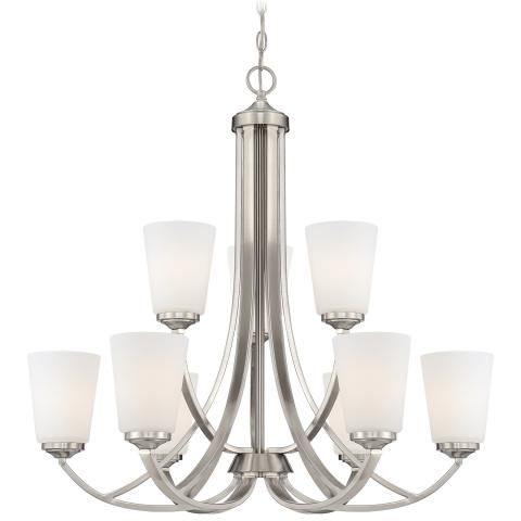 Overland Park - Chandelier - 9 Light Chandelier with Etched Opal Glass in a Brushed Nickel Finish