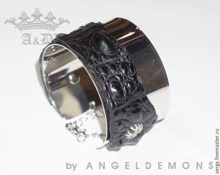 Купить Браслет Nature Croco Silver II - черный, браслет, браслет кожа, браслет металл