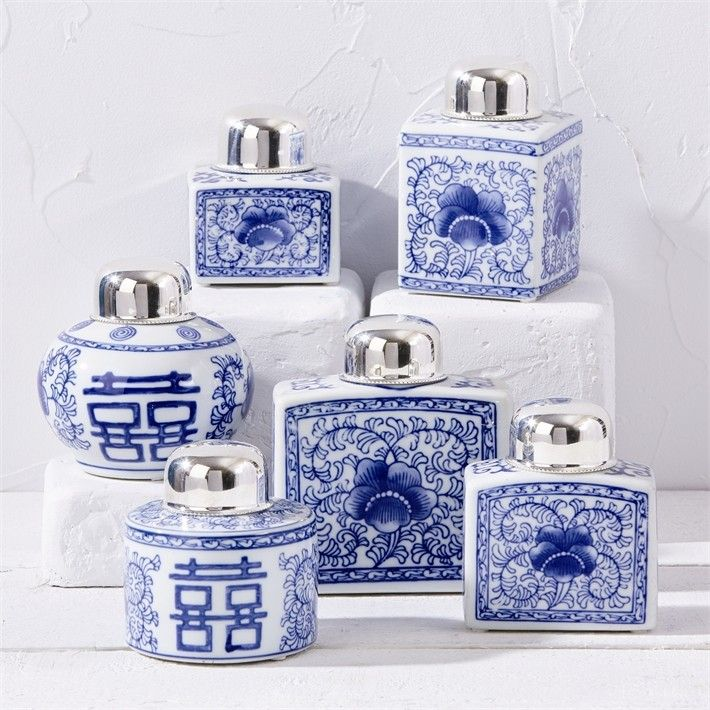 Set of 6 White and Blue Tea Jars Canton Collection from The Well Appointed House