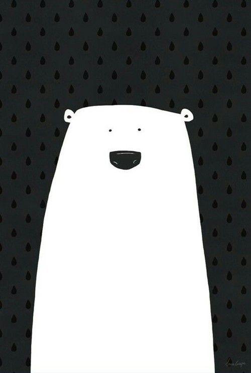 Zwart / wit poster met ijsbeer van het Zweedse designmerk A Grape Design - nordiklivingstore - Graphic Arts