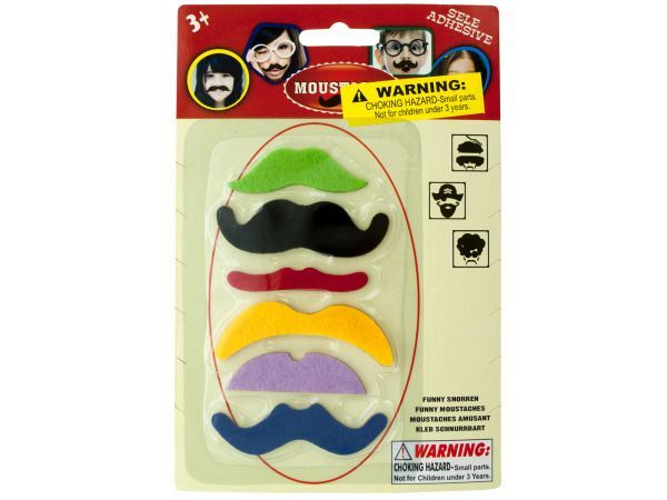 "Self-Adhesive Mustache Play Set, 72 - Kids will have fun disguising themselves with this Self-Adhesive Mustache Play Set featuring fuzzy mustaches in various colors and styles including: the snob, the banker, the wise guy, the chopper, the casanova and the villain. Great for costumes, parties and playtime. Mustaches measure approximately 2.25"" to 3"". For ages 3 and up. Comes packaged in a blister pack.-Colors: black,yellow,green,blue,red,purple. Material: felt,adhesive. Weight: 0.059/unit"