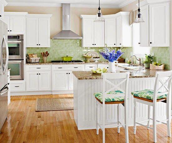 cocina, blanca, verde, nórdica, península