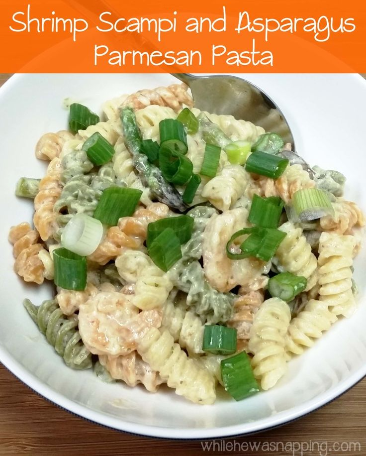 Shrimp Scampi And Asparagus Parmesan Pasta Recipe Parmesan Pasta Scampi And Asparagus