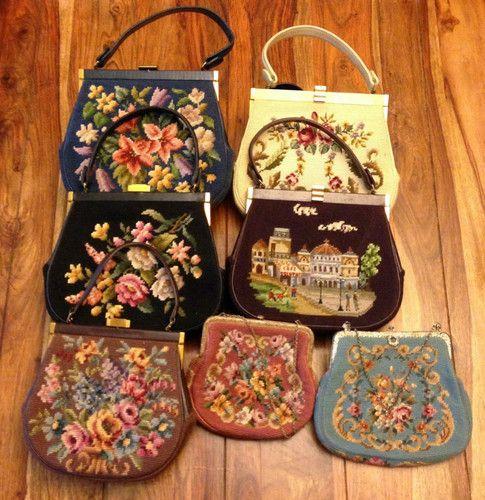 Vintage 50's 60's Eric NY Needlepoint Handbags