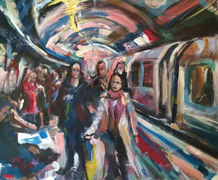 https://flic.kr/p/Fp8fEn | Commuters leaving London Tube train | acrylic 12 x 10 inches