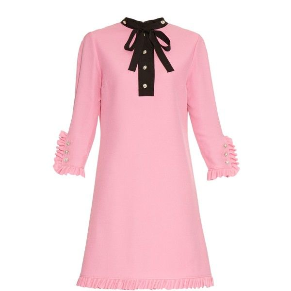 Gucci Swarovski crystal-embellished ruffle dress (€1.970) ❤ liked on Polyvore featuring dresses, pink, embellished shift dress, pink dress, frilly dress, shift dress and sparkly dresses