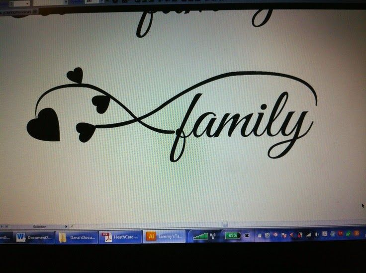 Family tattoo I created for a friend. She wanted family and four hearts for her loves ones. Loved this design the most! Infinity symbol ties...