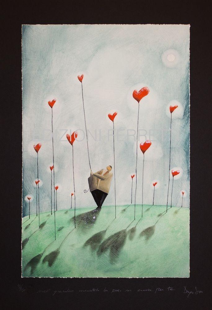 DIEGO SANTINI Giclee art print con ritocchi a mano - tiratura limitata - 45x65