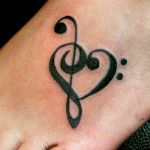Cute Music Tattoos Foot Ideas
