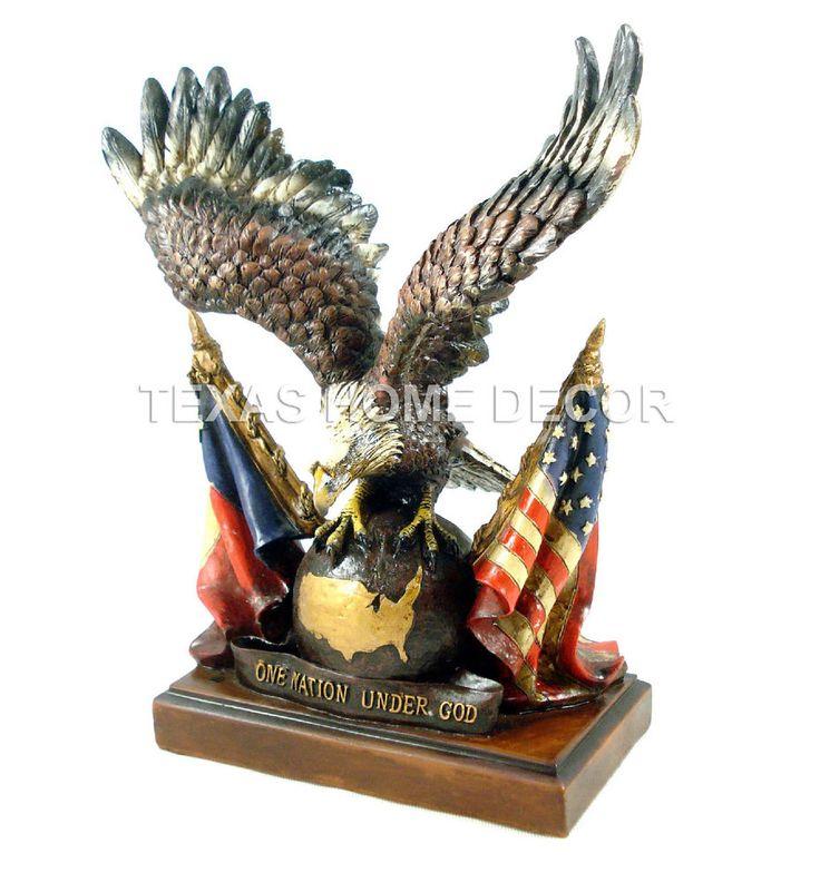 Bald Headed Eagle Statue American Flag Texas Flag One Nation under God Globe