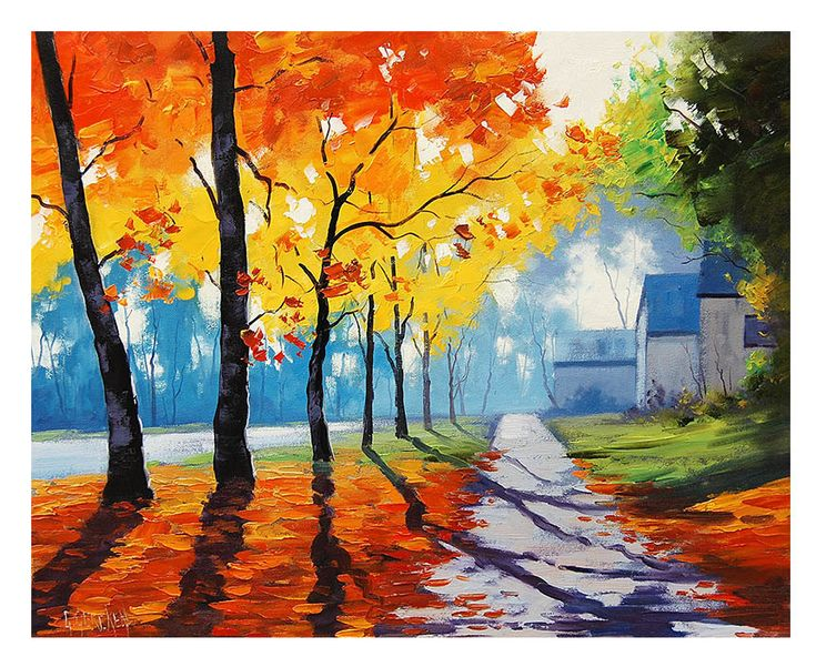 AUTUMN STREET PAINTING commissioned fall houses traditional artwork Graham gercken. $158.00, via Etsy.