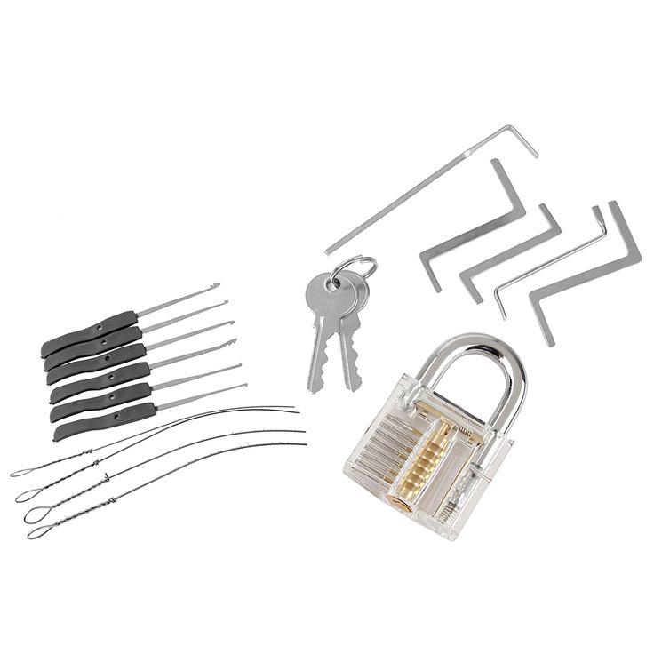 Locksmith Tools Kit 3 In 1 Set Transparent Lock 5pcs Locksmith Wrench Tools 10pcs Locksmith Broken Key Extractor Tools 2 keys