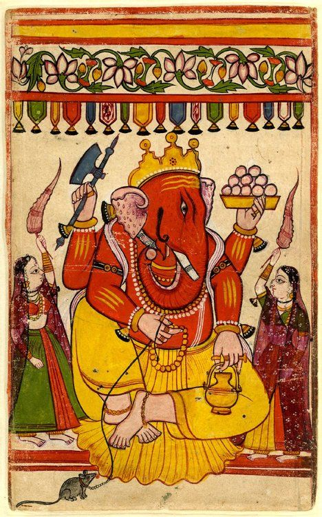 Gaṇeśa holding his mount the mouse on a leash. 17th C. Painted in Gujarat, India   The British Museum