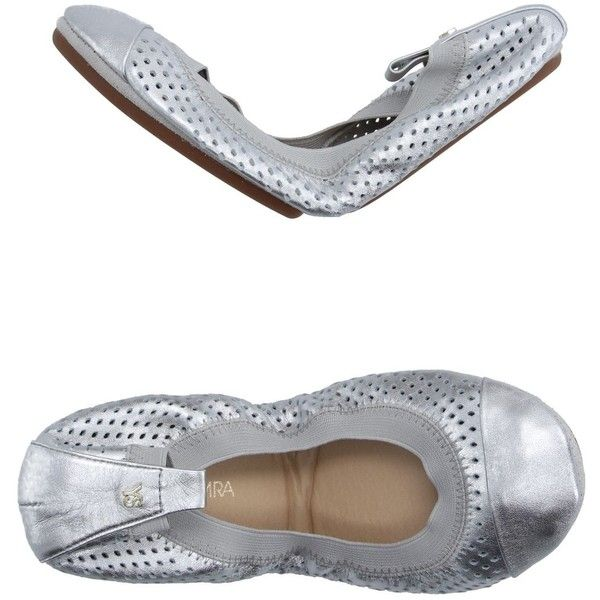 Yosi Samra Ballet Flats ($78) ❤ liked on Polyvore featuring shoes, flats, silver, ballet pumps, round toe flats, ballet shoes, rubber sole shoes and ballet flats