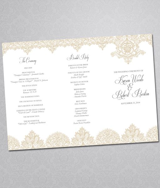 DIY Pearls And Lace #wedding Program Tri-fold Template