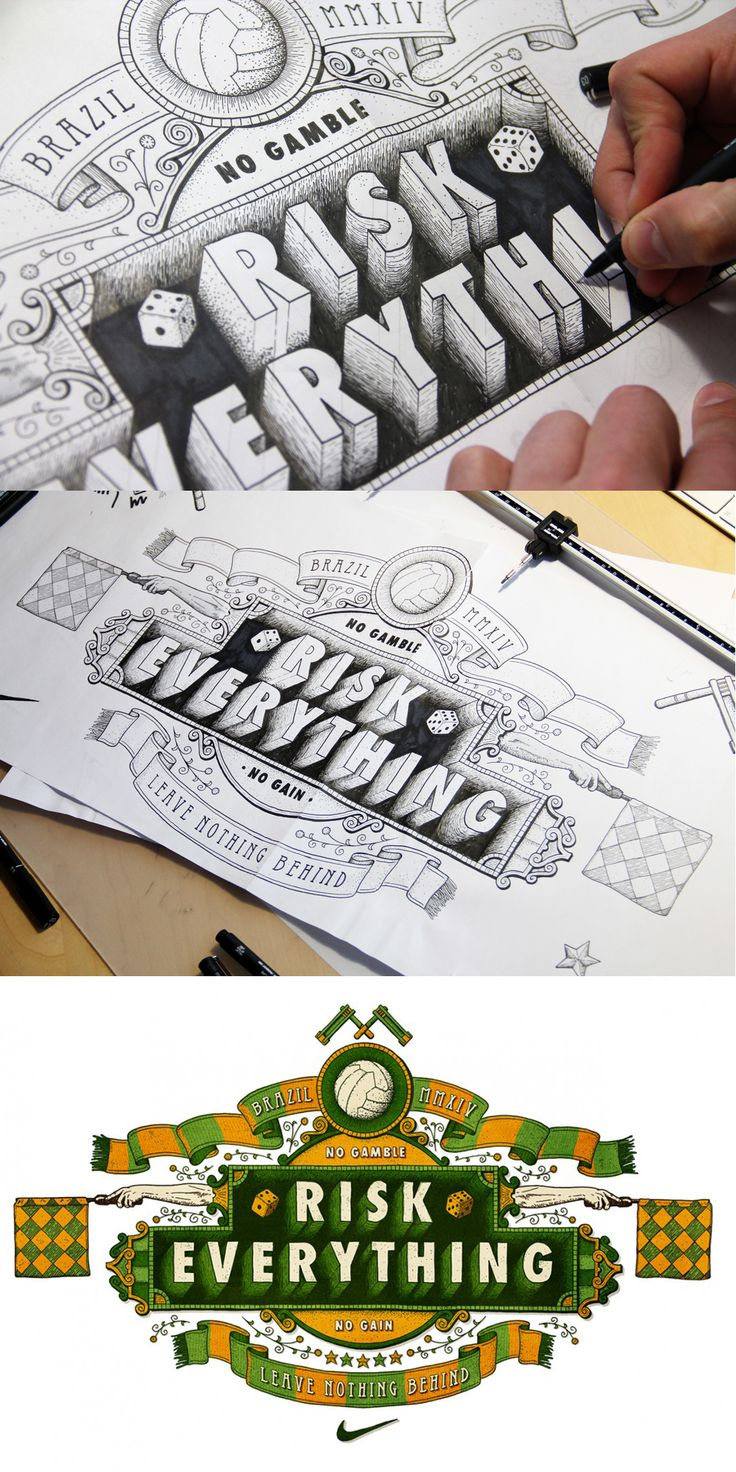 """""""Risk Everything"""" by Tobias Hall - #design #typography #calligraphy"""