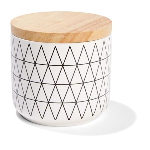 Patterned Canister - Small, White
