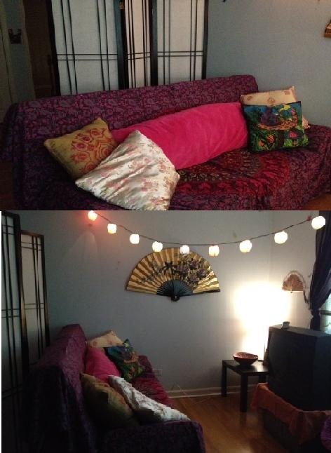 My Boho/ Asian Inspired Room (Futon cover: Urban Outfitters, Body Pillow: Target, Asian fan: Navy Pier, Rainbow Lantern lights: World Market, Asian screen: World Market)