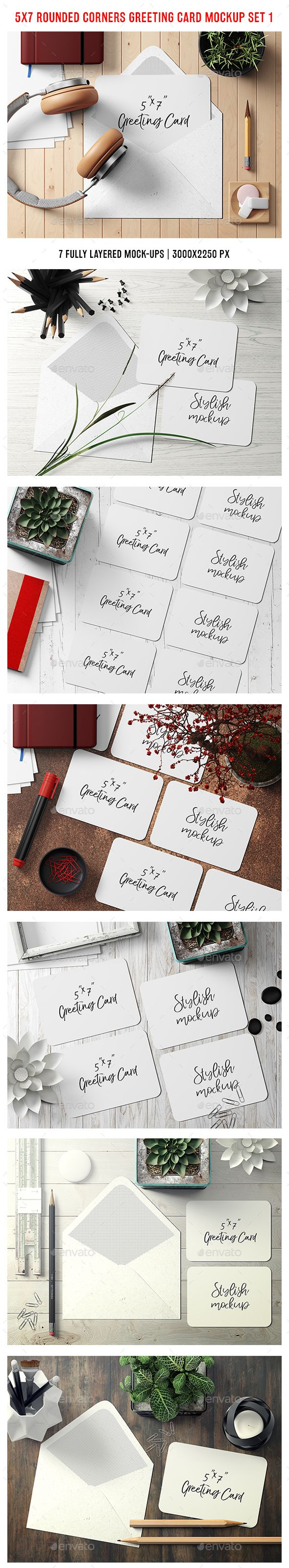 5x7 Rounded Corners Greeting Card / Postcard Mockup - Set 1