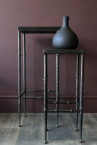 Set Of 2 Tall Black Side Tables